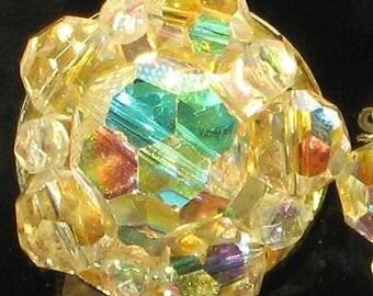 Crystals Vintage Earrings Aurora Borealis Rainbows Antique Bling Sparkle Bridal Estate VLV Cluster Clip Cocktail Pinks Yellow Purples Blues