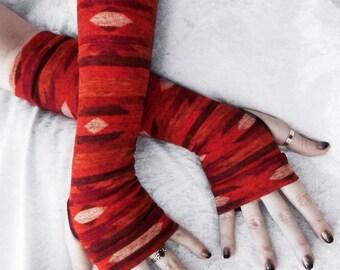 Mojave Morning Arm Warmers | Rust Red Orange Brown Cream Aztec Tribal Sweater Knit | Bohemian Yoga Fall Woodland Desert Navajo Gothic Dark