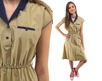 Vintage 70s Khaki Dress, Shirt Waist Dress, Boho Dress, Vintage 70s Dress Δ size: xs / sm