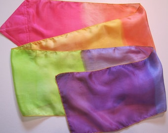 Covenant Promise Rainbow Multi-Colored Hand Painted Hand Dyed Silk Streamer Flag WITHOUT Rod For Praise Worship or Dance