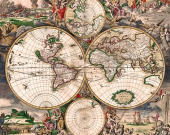 Antique World Map, Old Vintage Map, 1689, HD Canvas Print or Art Print, Vintage Antique Artwork, Retro Wall Poster, Fade Proof Reproduction