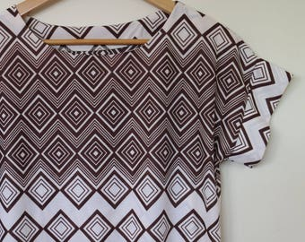diamonds are forever...ladies loose fit blouse in vintage fabric