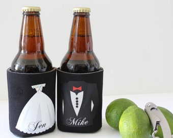 Mr and Mrs Custom Can Holder Wedding Gift Outdoor Wedding Bride groom Can Coolers Stock the Bar serving dining Can Holder Wedding Gift idea