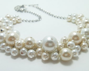 Pearl Necklace, Ivory and White Pearl Necklace, Pearl Cluster Necklace, Pearl Necklace, Cream & White Chunky Pearl Necklace, FREE SHIPPING