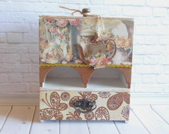 Tea buffet, tea house, tea box, kitchen storage, tea lodge, kitchen set, home decor, box tea storage, kitchen cupboard, kitchen decor