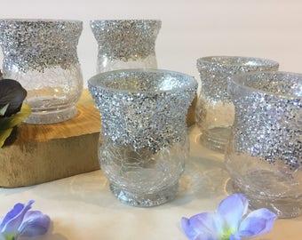Wedding Candle Holder,Votive Holder,Silver Glitter Votives,Table Candle Holder Centerpiece,Glass Votive Holder -Silver Glitter Candles