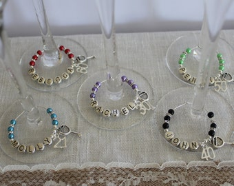 Special birthday personalised wine charms & Champayne flutes