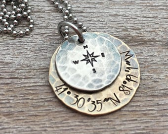 Custom Coordinates Necklace, Men's Personalized Jewelry, Location, Compass Rose Necklace, Graduation gift for him birthday, Personalized
