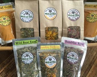 Herbal Tea Sampler Set - Wild Crafted Herbal Teas - Set of 5 - you pick