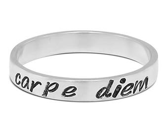 Sterling Silver Secret Message Carpe Diem Inspirational Ring - Name Ring - Personalized Jewelry - Bohemian Ring
