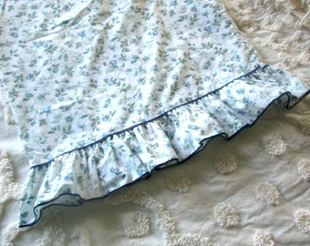 Vintage Ruffled Pillowcase, Blue Floral