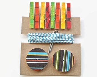 Art Hanging Kit ~ Mini Clothespins ~ Baker's twine ~ Nail Covers - Kid's Art Display Kit  ~ Fabric Scraps ~ Browns and Primary Colors
