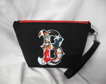 Embroidered Boston Sports / Quilted  Purse / Wristlet / Smart phone Wristlet / Ready To Ship
