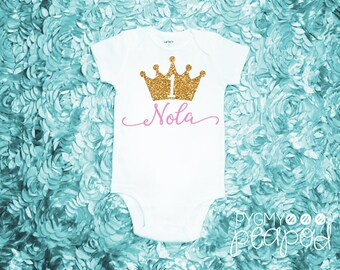 First Birthday Custom Name Princess Crown 1 Baby Bodysuit - Pink and Gold - Birthday Girl - White with Gold Glitter & Light Pink