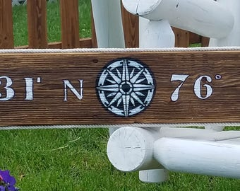 "Nautical Compass Longitude/ Latitude Sign 34"" or 44"" x 6"""