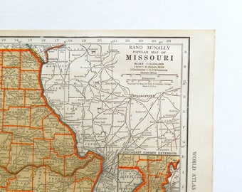 Old Missouri Map, Montana, 1930s Vintage US State Wall art Map