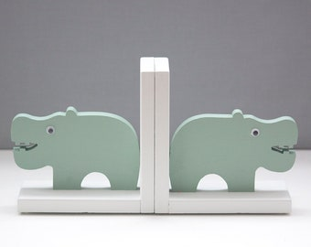 Happy Hippo Bookends, Zoo animal, Childs Birth, Hippopotamus Book Ends, Nursery , baby shower, kids, bookends, 100% hand made in the US