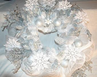 Snowflake and Silver Christmas Wreath