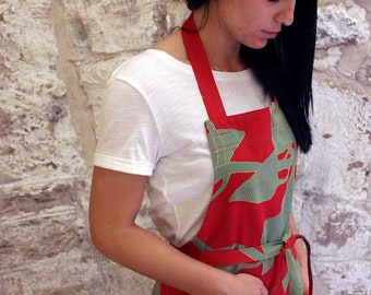 Womens chef apron red print for Christmas | Red green Scandinavian fabric apron