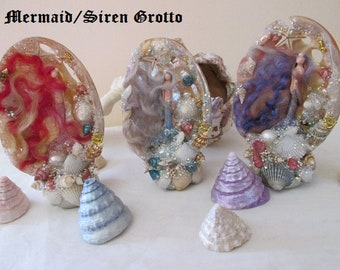 Mermaid/Siren Grotto on clay stand altar/shrine ornament
