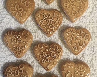 10 Handcrafted Toffee Brown Heart Tiles That Can Be Used In Mosaic And Other Mixed Media Projects