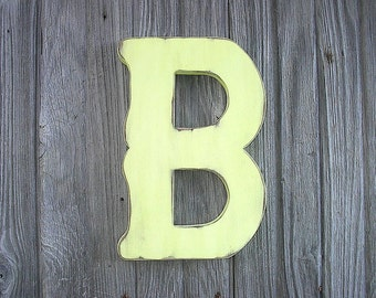 "Shabby chic Decorative Wooden Letter B 12"" Lime Float Nursery Kids Initial Wall Hanging Art Decor"