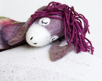 Felt Donkey - Bertha. Art Toy. Felted toy Felt Animals Mothers day gift Puppet Softie Plush Toy Stuffed donkey Handmade felt donkey. purple.