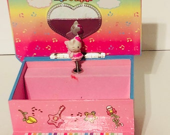 Sanrio Hello Kitty piano wind up music box jewelry box with dancing hello kitty ballerina and music