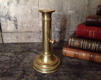Brass candlestick with push up button, antique, French, solid brass, light, candles,