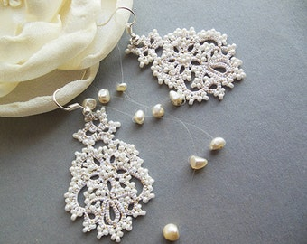 Bridal tatting earrings, wedding jewelry lace, white tatted earrings, wedding lace accessories,  Victorian jewelry, vintage style