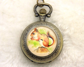 Squirrel Necklace, Squirrel Pocket watch, 2525M