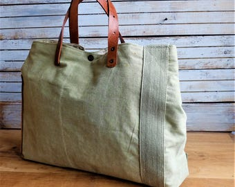 Recycled military canvas bag, oiled cowhide leather antique military Bag