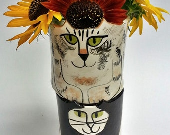 Custom Cat pottery: feline decor handmade Custom made to order jardiniere planter