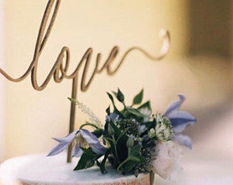 love cake topper gold love cake topper script love cake topper wood cake topper