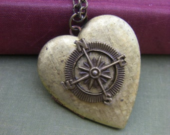 Vintage Heart Compass Locket  Follow Your Heart Locket Rustic Valentine Gift  Graduation Romantic