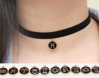 Constellation Choker, Zodiac Choker, Personalized Choker, Birthday Necklace, Black Velvet Choker, Anniversary Gift, Sign Necklace