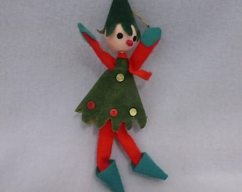 Vintage Small Felt and Wire Elf Ornament  HO663
