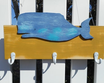 Wooden whale coat rack / beach decor / nautical decor