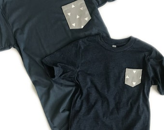Navy or Olive Triangle Pocket Tshirt Set, Mommy and Me Tshirts, Matching Tshirts