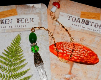GREEN Earth Fairy CRYSTAL Divination PENDULUM with Toadstool