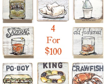 Set of 4 Wood Signs: New Orleans Wall Art, New Orleans Art, Southern Art, New Orleans Decor, New Orleans Gift, Cocktail Art, Mardi Gras Art