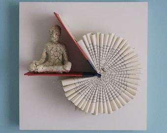 Meditator on Red Book Circle (Original Sculpture)