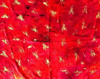 Handmade Handdyed Fashion Square Silk Scarf Golden Butterflies One of a kind Customized Limitedition