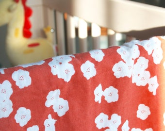 Organic Cotton Double Gauze Baby Swaddle Blanket in Coral Floral