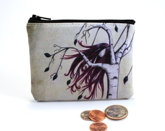 Free - Small Zipper Pouch - Girl Birch Tree with Wind Blown Burgundy Hair - Art by Marcia Furman