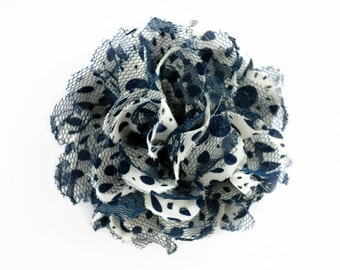 Navy Blue Polka Dot Flowers. 1 PC.  White and Blue Flowers. Silky White Flowers. White and Navy Flower. PF1001
