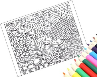 Coloring Page Zentangle Inspired Printable, Instant Download, Zendoodle Pattern, Page 49