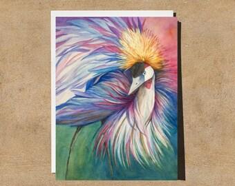 Crowned Crane 5X7 Fine Art Watercolor Greeting Card