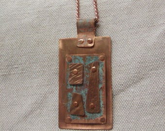 Copper / turqouise patina riveted necklace