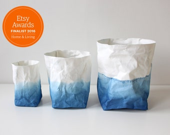 Paper bag storage, Ombre - Indigo Blue & White washable paper bag, cobalt blue, basket, hamper, planter, Warm Grey Company
